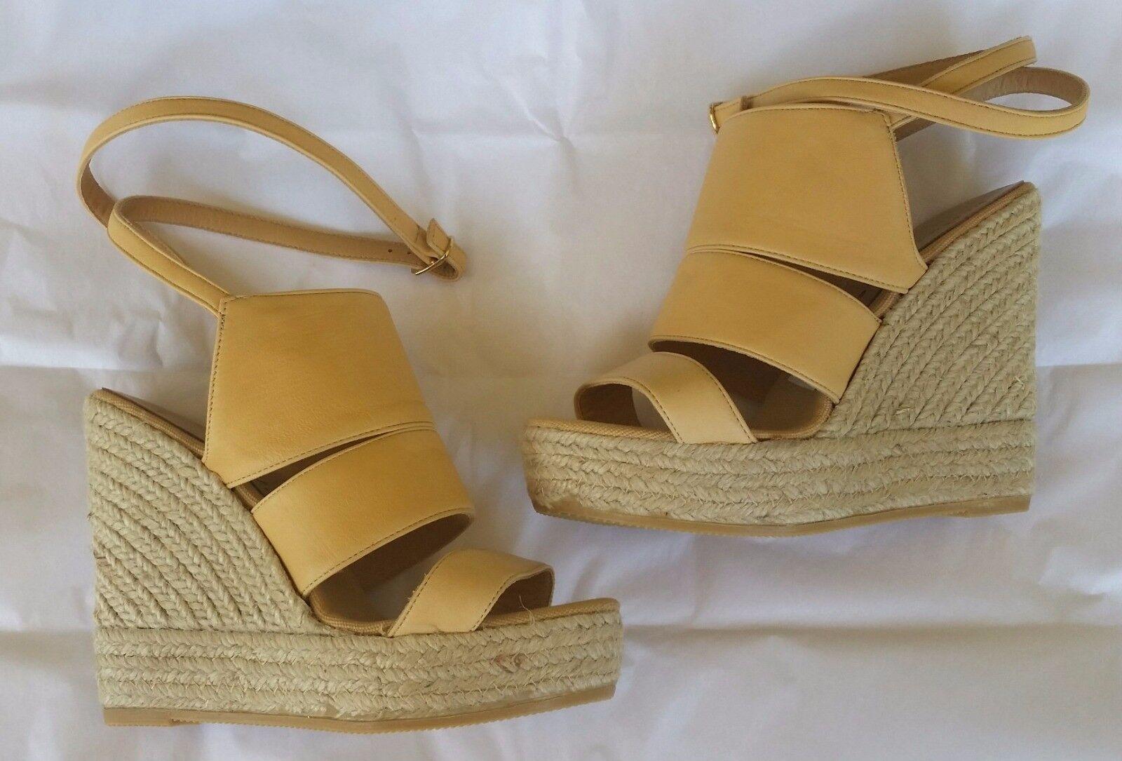 NIB BETTYE MULLER Scan Tan Leder Ankle Strap Wedge Espadrilles Schuhes 36