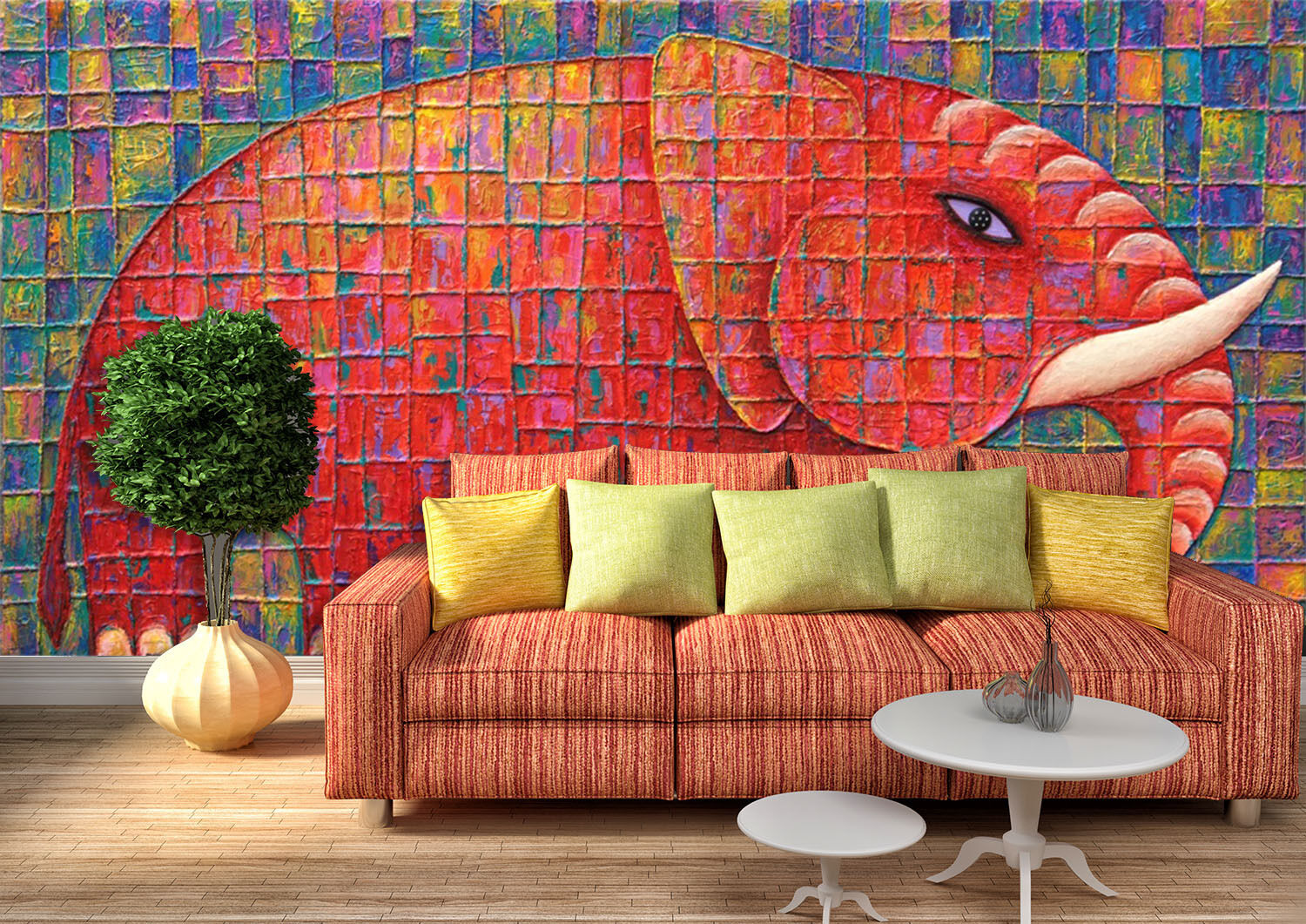 3D rot elephant 108 Wall Paper Print Wall Decal Deco Indoor Wall Murals