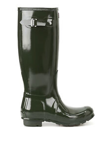 Hunter Original Tall Gloss Ladies Dark olive Boots 7