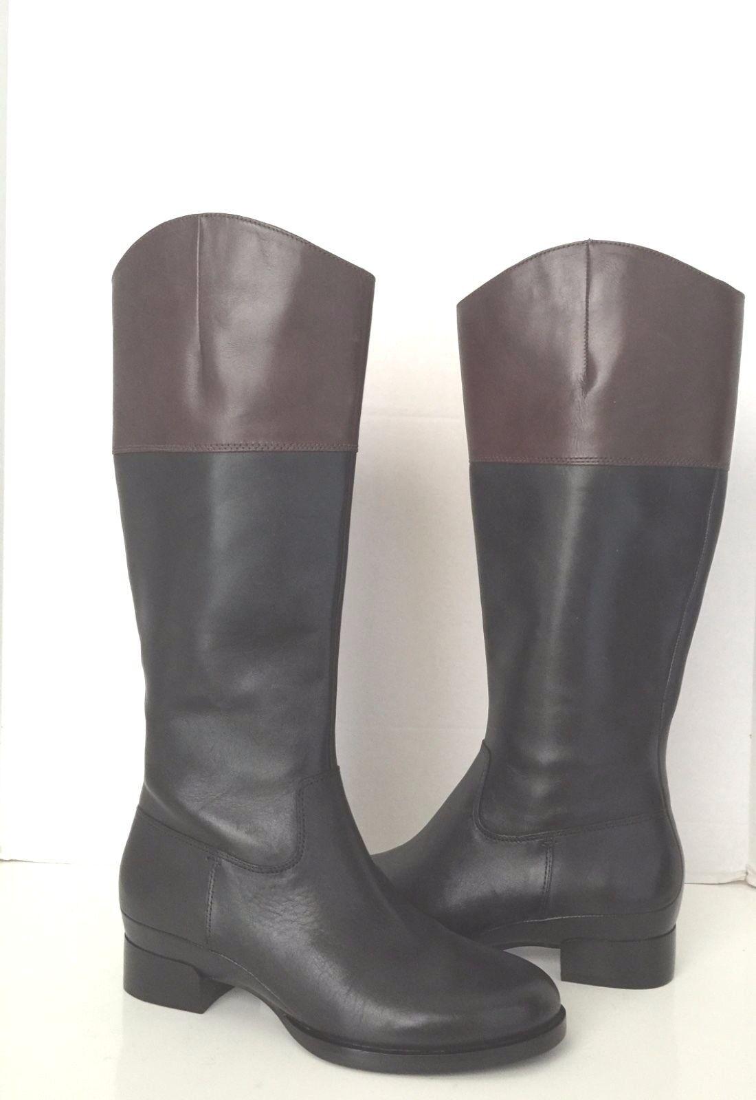 Ecco Sullivan Cuero Marrón Negro Negro Negro dos tonos la rodilla botas altas US 6.5 EU 37 1ab3bf