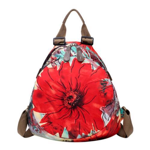 Chinese Style Women Retro Backpacks Flowers Print Shoulder Bag Casual Satchel