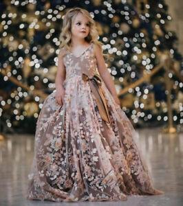 2b7dbe5d70 Pink Flower Girl Dresses 3D Flower Applique Pearls Princess Kids ...