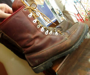 9-5-D-9-5D-VTG-70s-BROWN-LEATHER-WORK-LOGGER-LACE-UP-HERITAGE-BOOTS-USA
