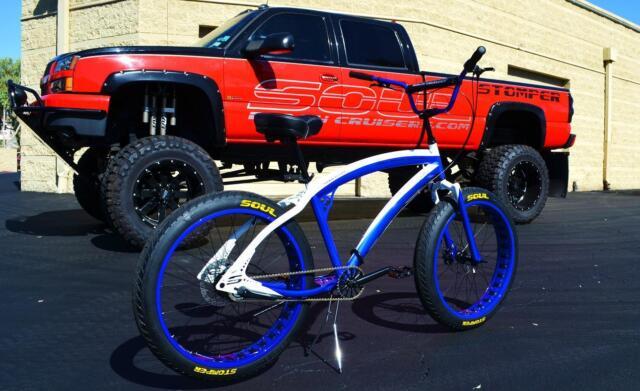 Fat Tire Beach Cruiser Bike Soul Stomper White Blue Chrome 3 Sd