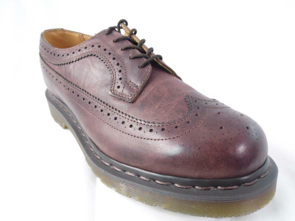 DR MARTENS 3989 AZTEC WINGTIP DARK marron GREASY BROGUE OXFORDS NOS NWOB UK 7