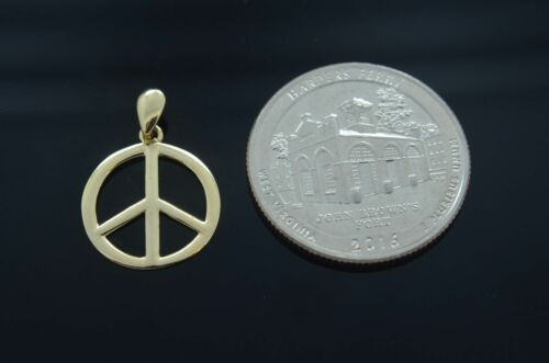 Nouvelle Paix Signe Charme Or 14k Pendentif neckalce Love Symbole medalla Paz Oro Real