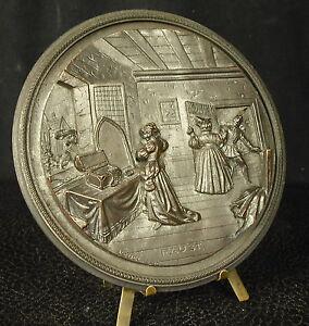 Medaille-Faust-conte-fantastique-populaire-allemand-par-Vedel-114-mm-medal
