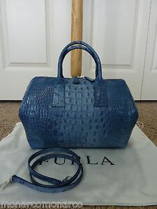 NWT FURLA Denim Blue Croc Embossed Leather Papermoon Satchel Bag ...