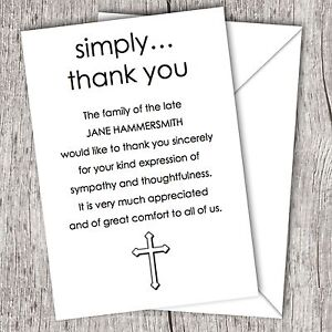 Personalised Sympathy Funeral Thank You Cards Cross Ebay