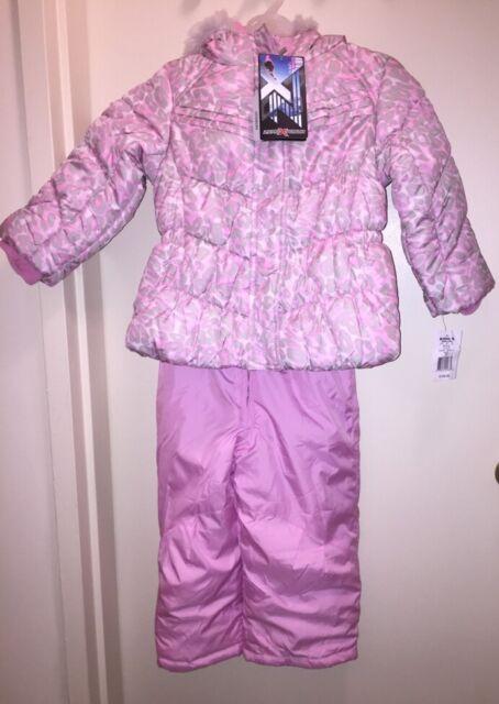 781e8c59cb74 ZeroXPosur Girl s Puffer Jacket   Bib Snow Pant Set Winter PINK GREY ...