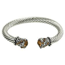 Crystal Tip Bracelet Twisted Metal Cuff Silver Topaz Pave Stone Chunky Cable