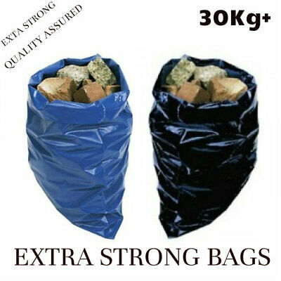 500 Gauge Black and Blue Heavy Duty Rubble Sacks High Strength Bags Builder