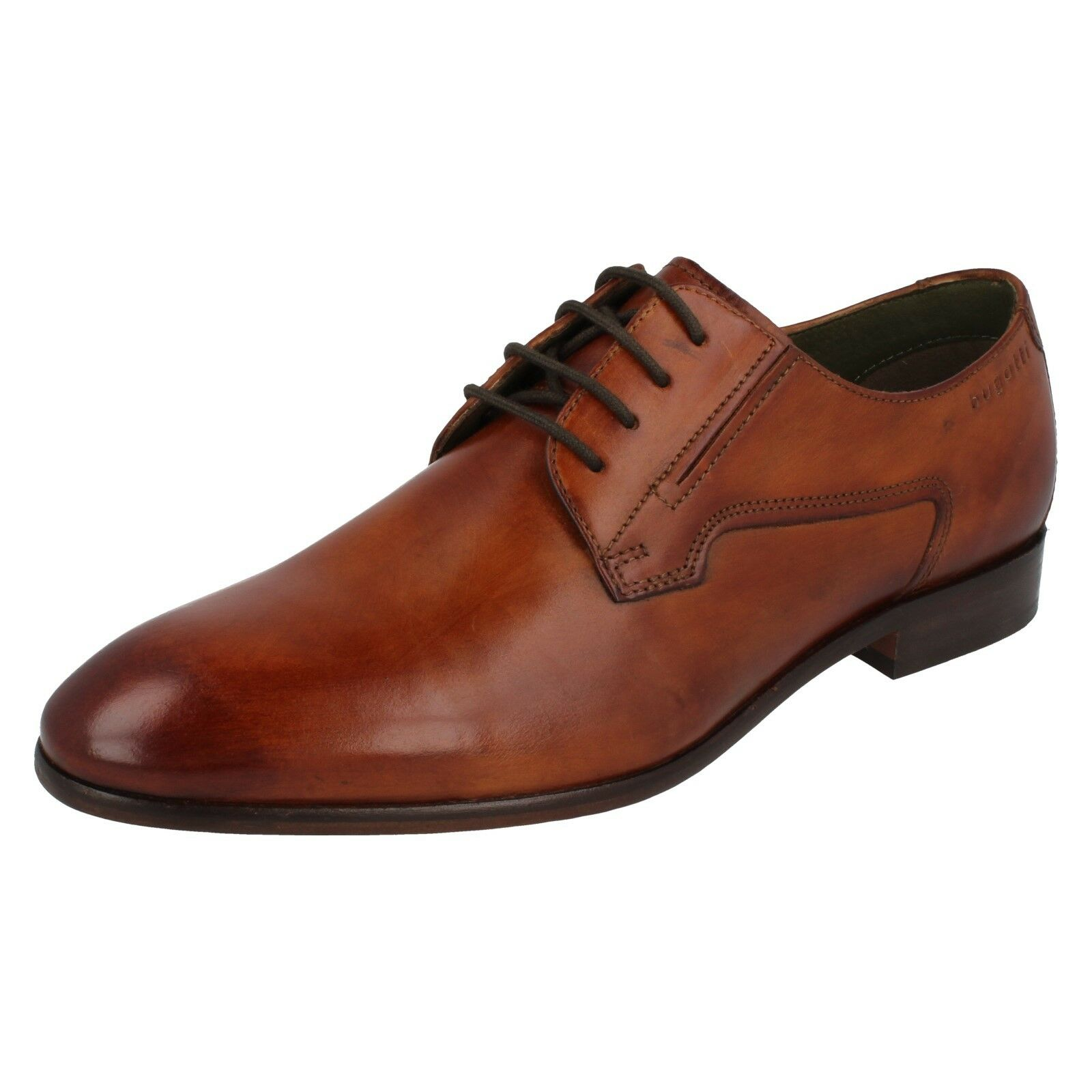 Mens Bugatti Cognac Lace Up Leather Formal Smart Shoes 311-41901