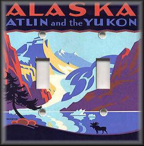 Metal Light Switch Plate Cover Vintage Travel Poster Decor Alaska