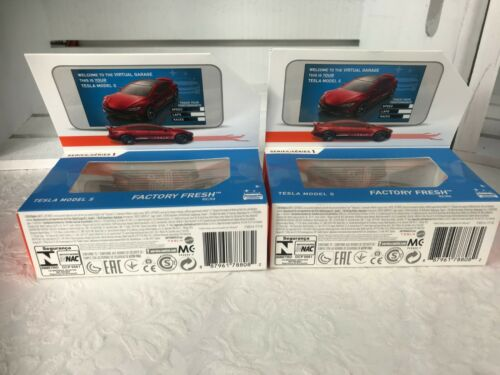 Hot Wheels Tesla Model S id Series1 Uniquely Identifiable Vehicles2019 LOT OF 2