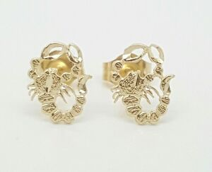 14K Solid Yellow Gold Scorpion Safety Screw Back Earrings.