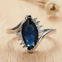 Women Fashion 925 Silver Sapphire Marquise Cut Ring Wedding Bridal Jewelry