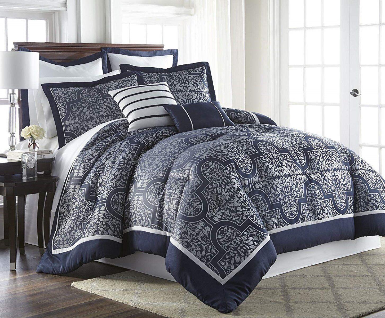 7-Piece Mayan Navy Jacquard Floral Bed-In-A-Bag Comforter Set