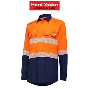 Mens-Hard-Yakka-Fire-Resistant-ShieldTec-Lenzing-Hi-Vis-Safety-Work-Shirt-Y04370