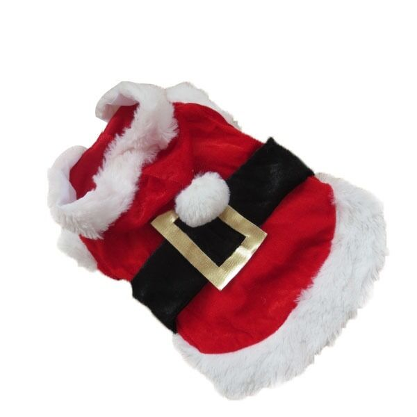 Pet Christmas Coat Costume Apparel Puppy Dog Santa Claus Hoodie Jacket Outwear