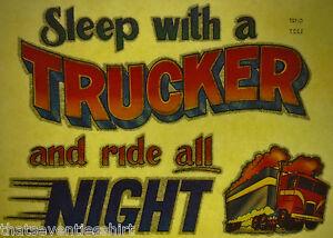 sleep with a trucker 80s vintage retro tshirt transfer print new NOS