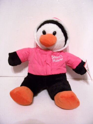 PLUSH PENGUIN PINK SANTAS HELPER CHRISTMAS HOLIDAY DECORATION CHILDS TOY GIFT