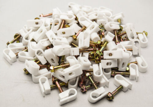 """White 2500 pcs Single Coaxial Cable Clips RG56 RG6 Cat6 1//4/"""" Screw Fastener"""