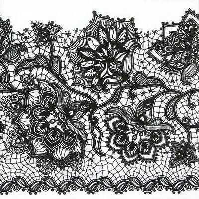 4x Paper Napkins for Decoupage Gloria Lace White on Black
