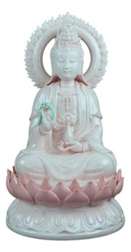 "Guanyin... 13.5/"" Fine Porcelain Quan Yin Buddha Glory Sitting on a Lotus Statue"