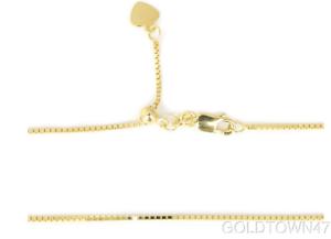 "14kt Yellow Gold .85mm Diamond Cut Adjustable Box Chain Adjust up to 22/"""