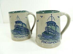 Set-of-2-Great-Bay-Pottery-Portsmouth-Large-Stoneware-Mugs-Steins-Boat-EUC