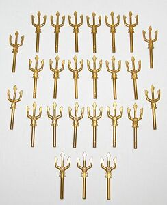 LEGO LOT OF 25 NEW PEARL GOLD TRIDENTS MINIFIGURE WEAPONS PARTS