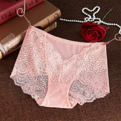 1 Or 4 Pack Ladies High Waist Lace French Knickers Boxer Brief Lingerie UK 10-14