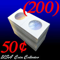 (200) Half Dollar Size 2x2 Mylar Cardboard Coin Flip For Storage | 50 Cent Paper