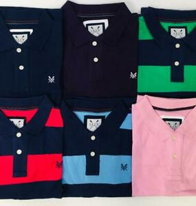 Mens-Classic-Cotton-Stripe-Striped-Navy-Blue-White-Pique-Polo-Shirt-Top-Small