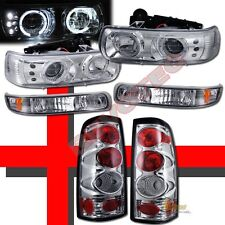 1999-2002 Chevy Silverado Halo LED Projector Headlights w/ Bumper & Tail Lights
