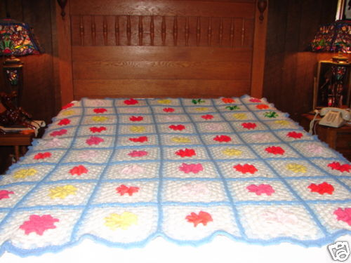 Handcrafted Crochet Granny Square Afghan Throw Blanket