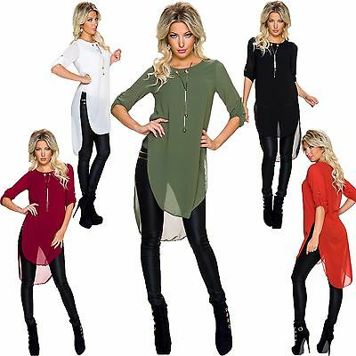 Damen Long Bluse Tunika mit Kette High low Saum Turn up Ärmel S 34 36 Party Club