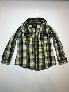 CATO Women's Western Style Medium Plaid Flannel Pearl Snap Long Sleeve Shirt