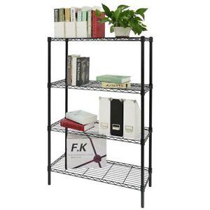 Librerie In Acciaio Scaffali.Dettagli Su Scaffale 4 Ripiani In Acciaio Cromato Nero Mobile Libreria Multiuso 90x35x137cm
