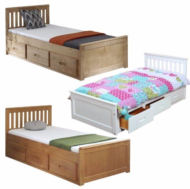 Kids Bed Childrens Bed Storage Drawers White Wooden Pine Single Mission Mattress