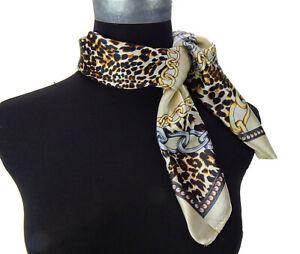Ella-Jonte-Kl-Foulard-Leopard-Chaines-Nu-Beige-Braun-Retro-Echarpe-40-Soie