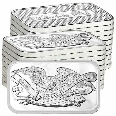 Retro SilverTowne Eagle & Shield 1oz .999 Fine Silver Bar LOT of 20
