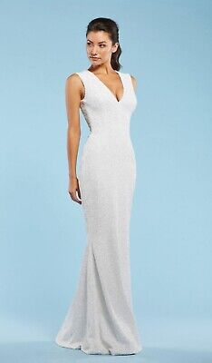 Dress the Population Womens Harper Sequin Sleeveless Plunging Long Gown