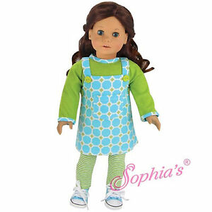 Sophia S Aqua Print Corduroy Jumper Outfit For 18 Doll American