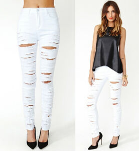 White Destroyed Ripped High Waist Stretch Skinny Pencil Jeans