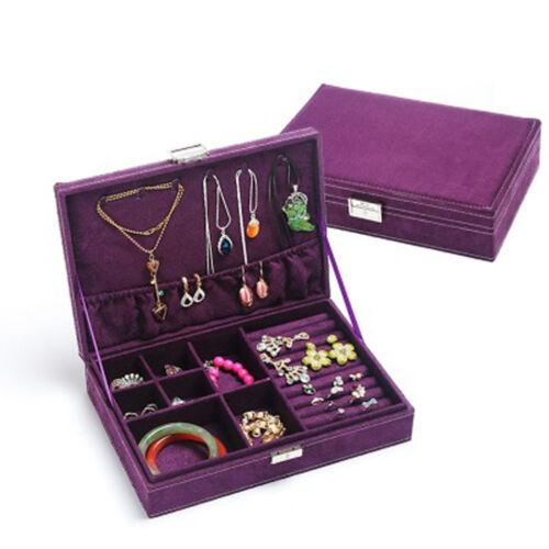 Caja De Joyería Aretes Anillo Collar de Terciopelo Grande Caja de almacenamiento NUEVA