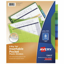 Avery Big Tab 8 Tab Plastic Insertable Dividers For Laser And Inkjet Printers