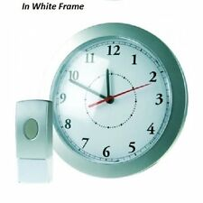 WHITE FRAME 25cm WALL CLOCK WITH 8 MELODY & 75 METER WIRELESS DOOR BELL CHIME