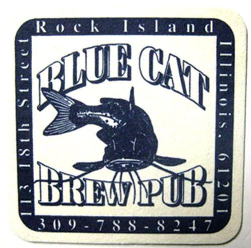 Rock Island ILLINOIS 1997 BLUE CAT BREWPUB Beer COASTER Mat with CATFISH